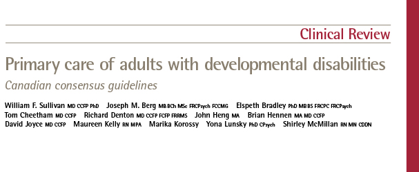 Primary Care of Adults with Developmental Dissabilities